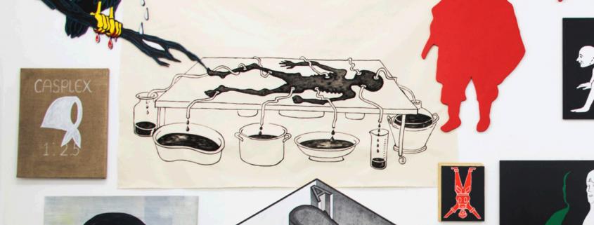 Claudia Martínez Garay, The Leftovers. Mixed media, 145 5/8 x 185in (369.6 x 470 cm).  2016 . Courtesy the artist and Ginsberg Galería, Lima,with support by Rijksakademie van Beeldende Kunsten,Amsterdam. Photo: Arturo Kameya
