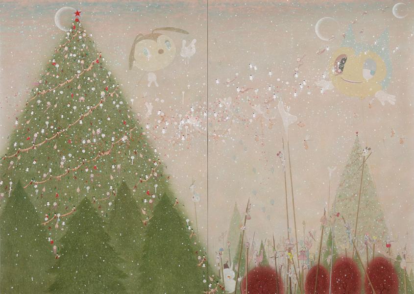 권순영 〈 고아들의 성탄 2〉 한지에 채색 200×270cm 2014