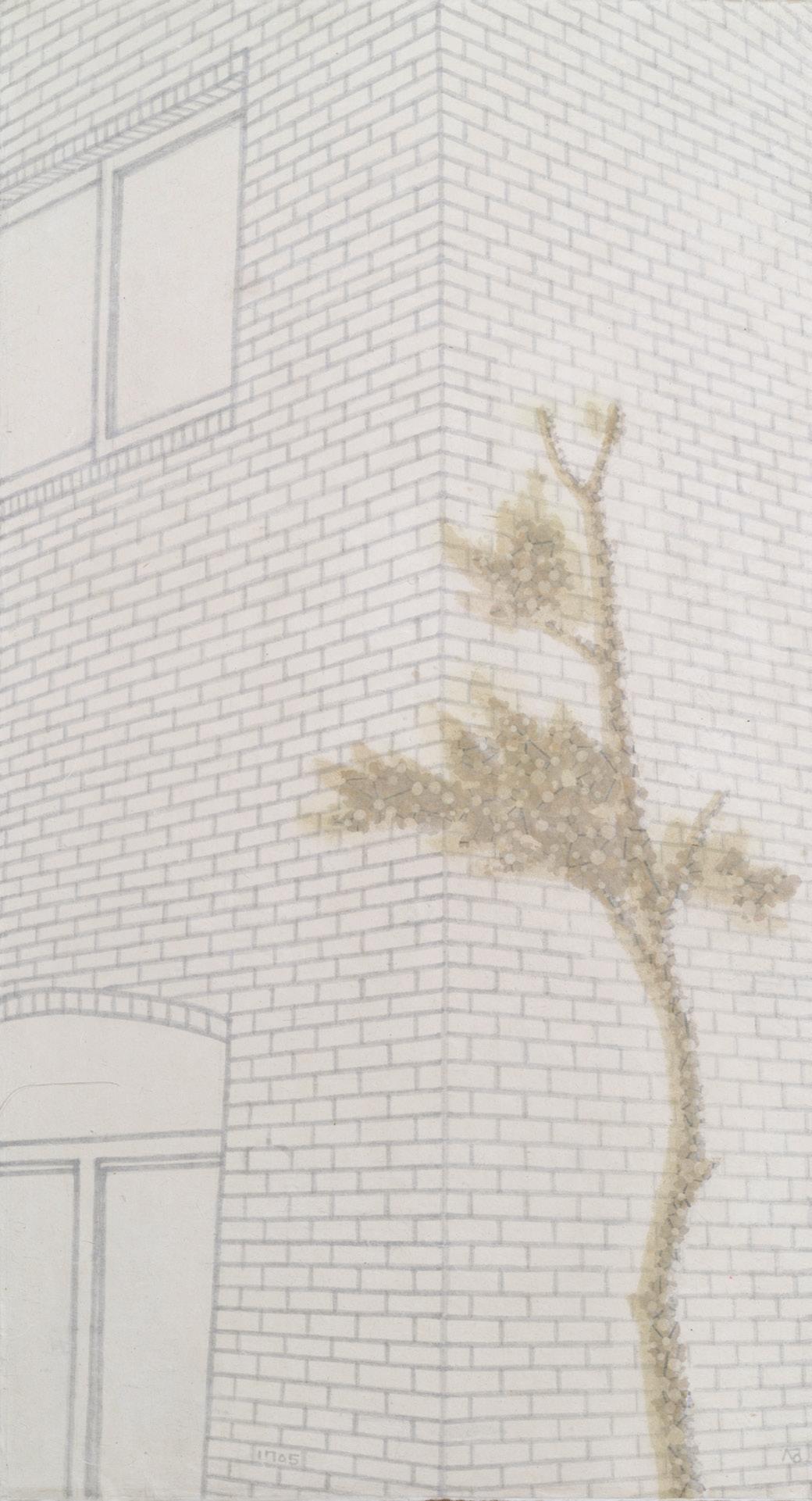 〈 별 난 이야기 1705 - 투명나무〉 한지에 먹과 채색 90×48.7cm 2017