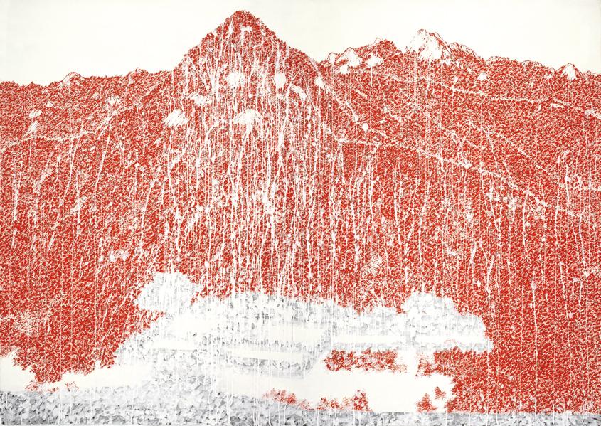 박능생 〈 붉은산(경복궁)〉 화선지에 홍묵 148×106cm(각, 2폭) 2016~2017
