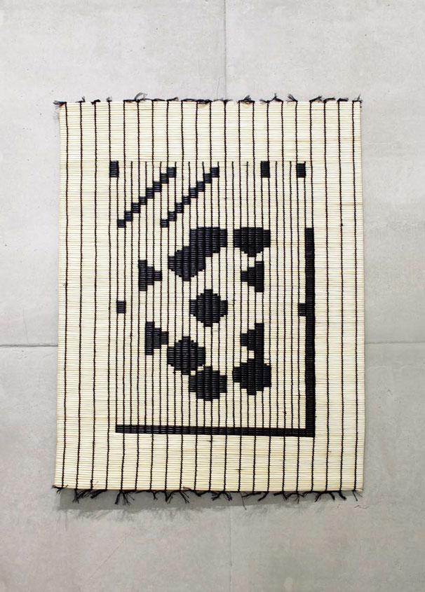 강서경 〈자리 검은 자리(Mat Black Mat) 61×81-동 #18-09〉 화문석, 실 79.5×64cm 2018