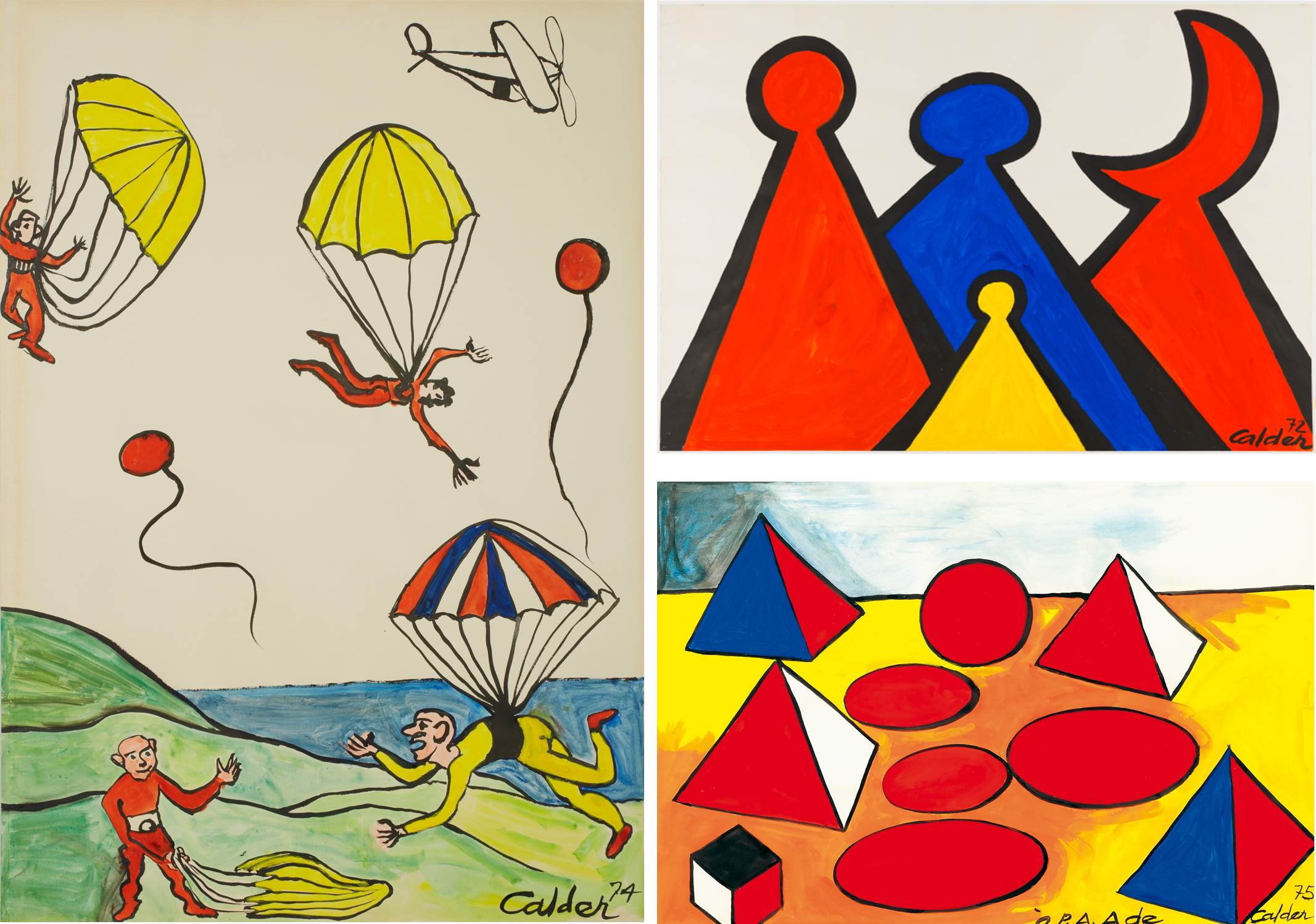 1. L'Ile Verte, 1974, Gouache and ink on paper, 109.0x74.6cm, Private Collection 2. The Red Crescent, 1972, Gouache on paper, 74.9x109.9cm, Private Collection 3. Pyramids, 1975, Gouache on paper, 74.2x109.2cm, Private Collection