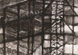 김영준, < 경계 01 >, 한지에 백토·수묵, 162x130cm, 2018