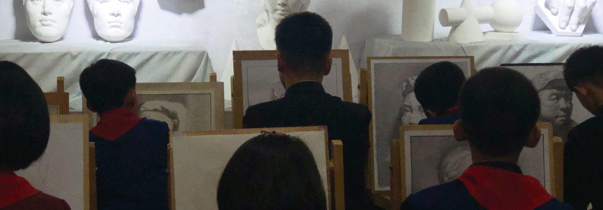 만경대학생소년궁전 미술부의 수업 광경